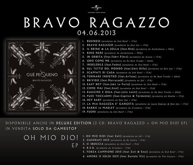 Album Bravo ragazzo Guè Pequeno Tracklist