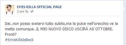Emis Killa annuncia con Facebook l' uscita del nuovo Album ad Ottobre